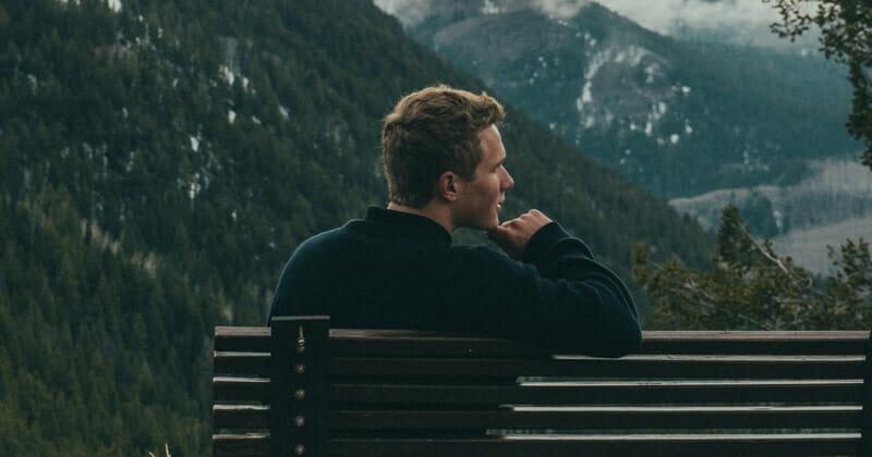 sitting in bench alone