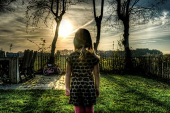 girl staring at the sun
